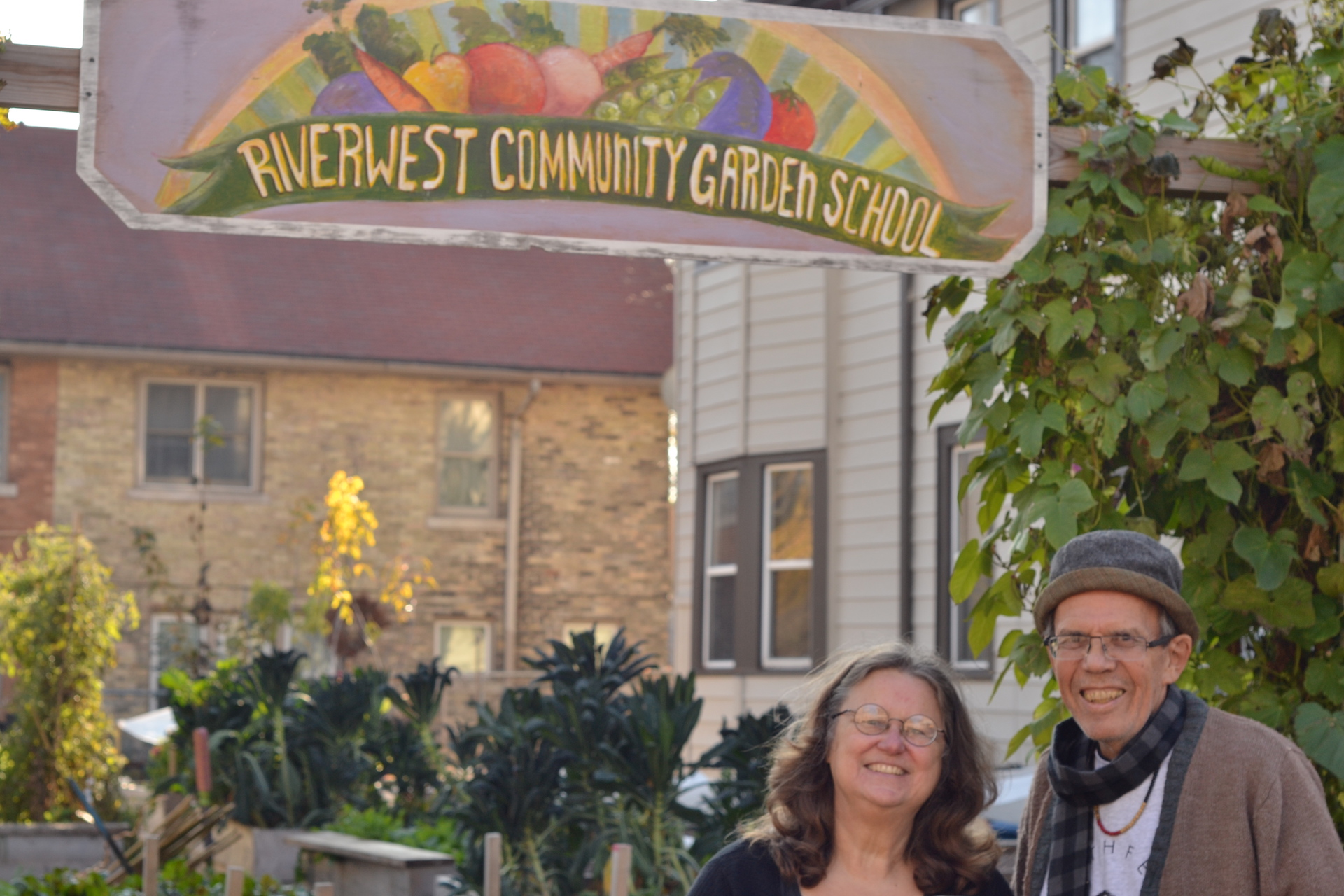 Janice Christensen and Dr. Dr. David Schemberger, administrators of the Riverwest Community Garden School.